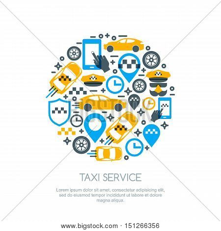 Set Of Vector Online Taxi Service Logo, Icons And Symbol. Taxi Mobile App Concept.