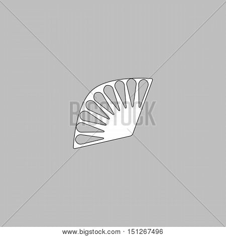 Folding fan Simple line vector button. Thin line illustration icon. White outline symbol on grey background