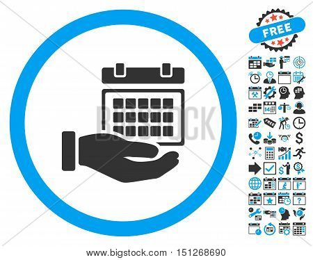 Service Timetable Hand pictograph with bonus calendar and time management symbols. Glyph illustration style is flat iconic bicolor symbols blue and gray colors white background.