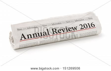 Rolled newspaper with the headline Annual review 2016