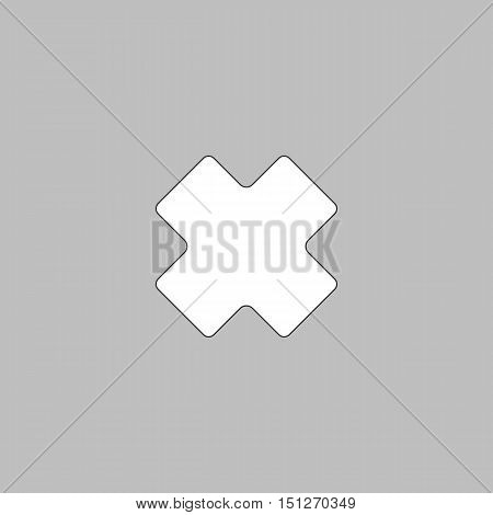 rejected Simple line vector button. Thin line illustration icon. White outline symbol on grey background