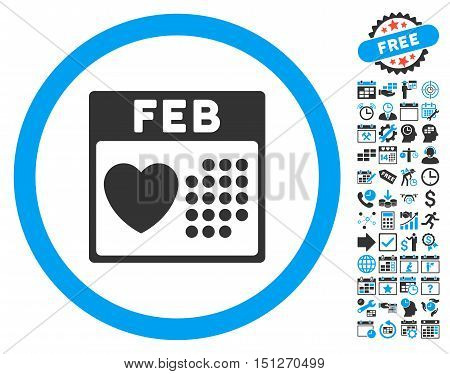 Valentine February Day pictograph with bonus calendar and time management icon set. Glyph illustration style is flat iconic bicolor symbols blue and gray colors white background.