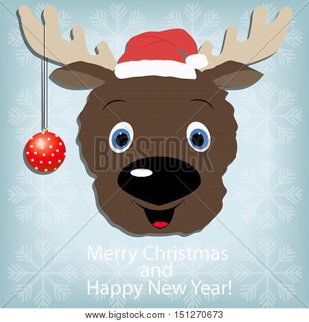 Cute Santa Reindeer Rudolf  with christmas decorations on horn on a blue background with snowflakes. template postcard greeting. new year vector illustration