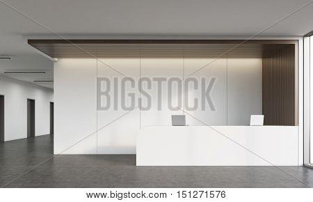 Reception Desk In Corridor
