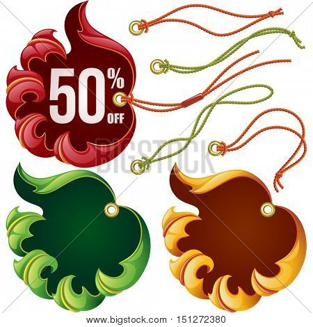 Vector fall leaf sale labels set: red, yellow and eco green tags isolated on white background