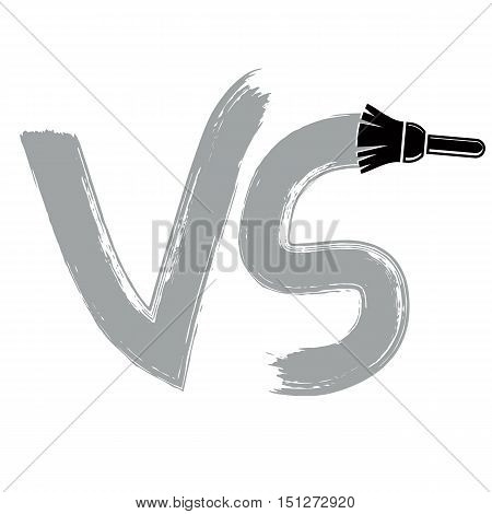 Vector competition symbol drawn with paintbrush versus sign. VS writing confrontation conceptual icon isolated.