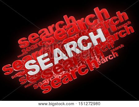 3D Illustartion. Word search. Image with clipping path