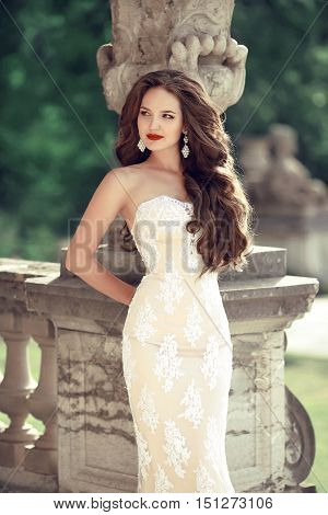 Beautiful Bride Wedding Portrait, Vogue Style Photo. Fashion Brunette Model Posing In Prom White Dre
