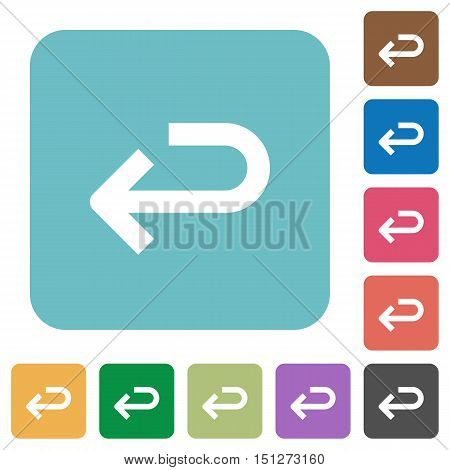 Flat back arrow icons on rounded square color backgrounds.