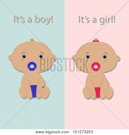 baby boy and baby girl. boy and girl baby. template card greeting invitation. Baby shower and arrival. Baby vector illustration