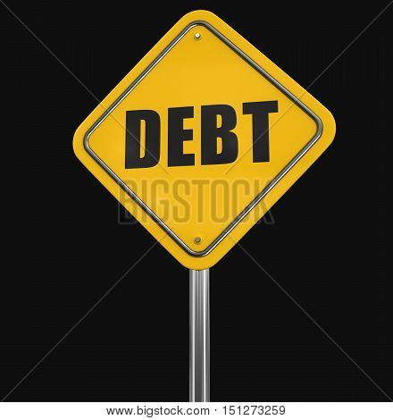 3D Illustartion. Debt road sign. Image with clipping path