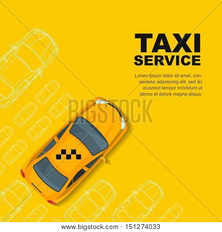 Taxi Service Concept. Vector Banner, Poster Or Flyer Background Template.