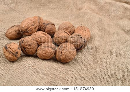 Natural, Unbroken Nuts On A Jute Bag Background. Selective Focus. Space For Text