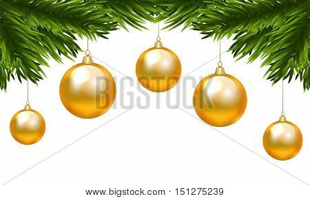 Christmas decorative element for border with fir tree branch and Christmas yellow baubles isolated on white