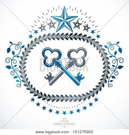Heraldic sign element heraldry emblem insignia sign vector. poster