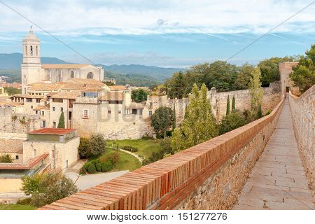 Aerial view from the fortress wall to Girona and the cathedral.