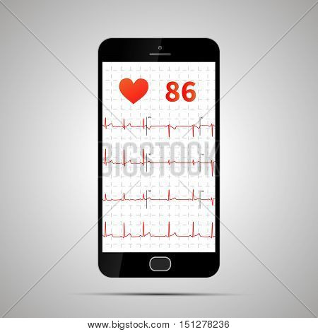 Smartphone with typical human electrocardiogram. Heart rate monitor application design.