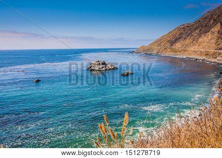 California route. Scenic road - serpentine runs along the Pacific coast of North America.