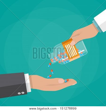 Pharmacist giving medicine pills to patient another hand, vector illustration in flat style