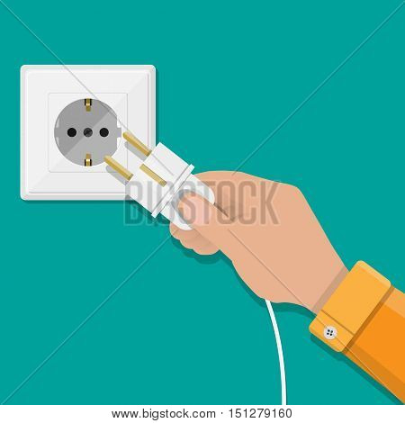 Electric white socket and hand with plug on green background. vector illustration in flat design