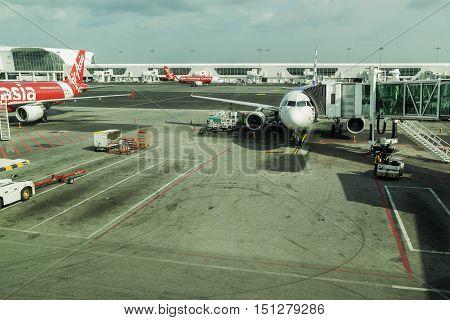 Kuala LumpurMalaysia-October 32016:Jet aircraft of the airline Air Asia flights to fly between Kuala Lumpur Malaysia to Bangkok's Don Muang Airport Thailand.