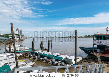 Sibu Sarawak,Malaysia-October 2,2016: Marina speedboat at Rejang River which is the major rivers of Sibu city's of Sarawak, Malaysia for transportation and logistics.