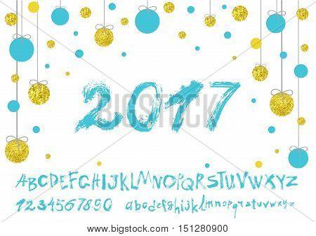 2017 vector image of handwritten, brush. calligraphy, gold glitter sketch texture, font. Handwritten brush style modern calligraphy cursive typeface. Typography alphabet for Designs