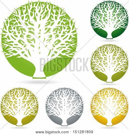 Tree round in green logo, plant, naturopath and nature logo