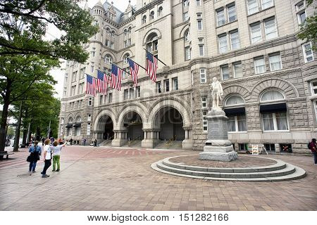 Washington DC. Oct. 6 2016 : Donald Trump International Hotel built in the old Pennsylvania Ave Post Office.