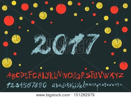 2017 vector image vector photo free trial bigstock 2017 vector image of handwritten brush calligraphy gold glitter sketch texture font thecheapjerseys Images