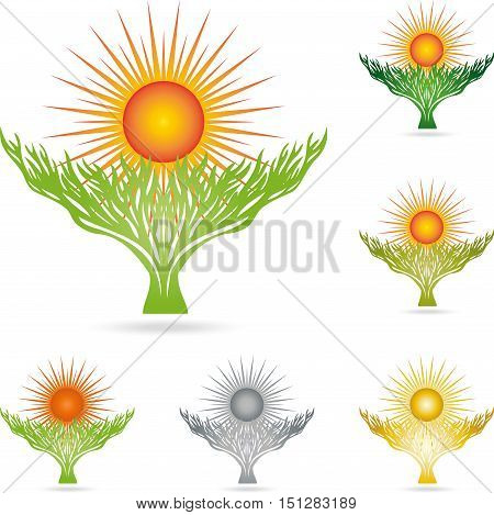 Plant and sun logo, tree, naturopath and nature logo