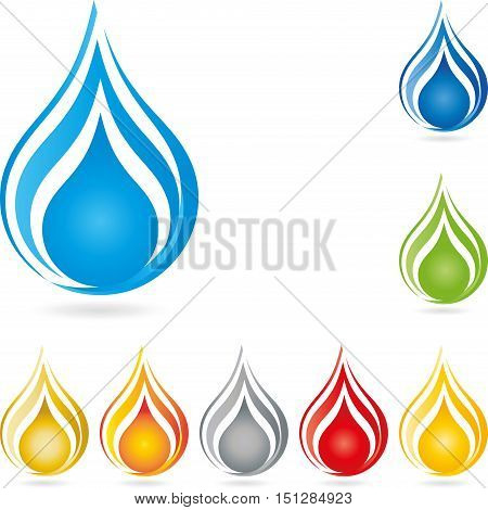 Water droplets in blue, colored, drop and water logo