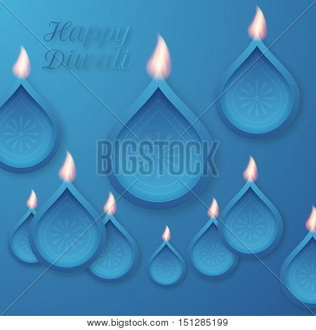 Vector illustration of a happy Diwali day. Stock vector
