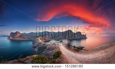 Panoramic Landscape With Mountains, Sea And Beautiful Sky In Summer