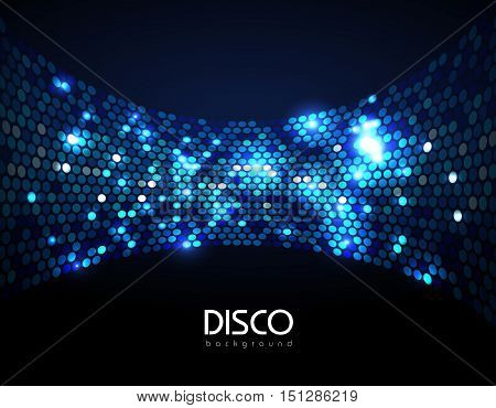 Disco Abstract Blue Neon Background