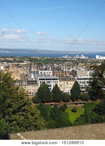 view from the Edinburgh Castle of Edinburgh Scotland Princes Street Gardens and Queen Street Gardens with Firth of Forth flowing into the Water of Leith