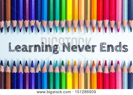 Text Learning never ends on pencil background