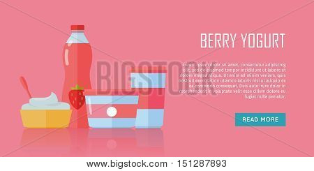 Berry yogurt banner. Milk production. Yogurt with berries and strawberries. Different dairy products from milk on red background. Assortment of dairy products. Farm food. Dairy website template.