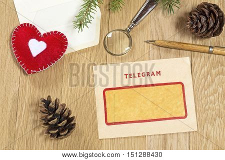Vintage Christmas decoration with the vintage telegram