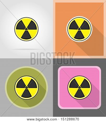sign radiation flat icons vector illustration isolated on background