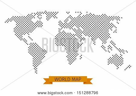 Vector world map cross dot. Global map for cartography, template map with black cross illustration
