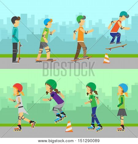 Boys skateboarding and girls roller skating. Guys skateboarding riding and performing tricks using skateboard. Women traveling on surfaces with roller skates. Forms of recreational activity. Vector