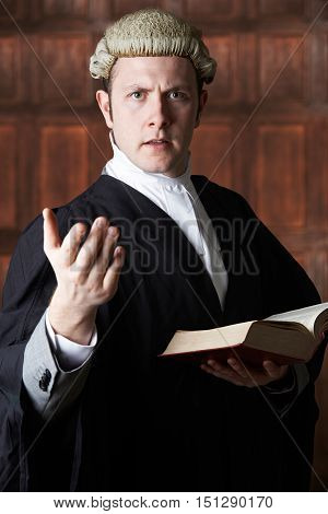 Portrait Of Lawyer Holding Brief And Book Making Speech