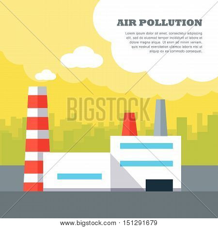 Air pollution concept vector banner. Flat design. City landscape with plant polluting air emissions