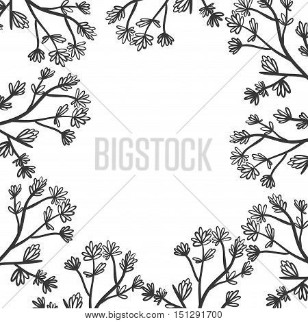 floral border with stem and ramifications vector illustration