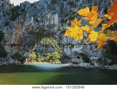 The Pont d'Arc is a large natural bridge located in the Ardèche département in the south of Franc. The arch carved out by the Ardèche River is 60 m wide and 54 m high.