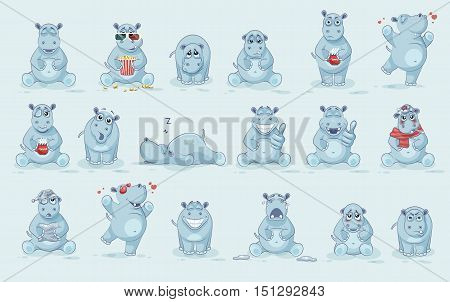 Set Vector Stock Illustrations isolated Emoji character cartoon Hippopotamus stickers emoticons with different emotions for site, info graphics, video, animation, website, newsletter, reports, comics