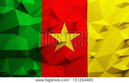 Low poly illustrated Cameroon flag. 3d rendering.