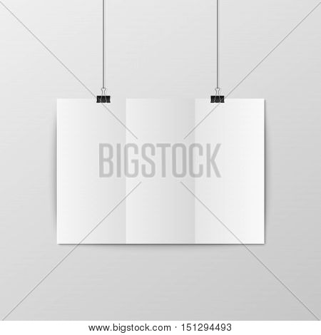 Sheet of folded paper hangs on the clamps. Vector EPS10 illustration.
