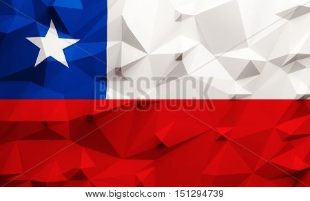 Low poly illustrated Chile flag. 3d rendering.